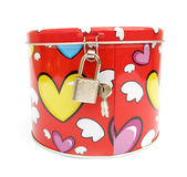 Money box piggy bank with hearts of love Royalty Free Stock Photos