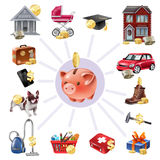 Money Box Saving Flat Icons Composition Royalty Free Stock Photography