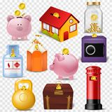 Money box vector financial bank or money-box with investment savings and coins illustration set of piggybank or moneybox. With cash isolated on transparent Royalty Free Stock Images