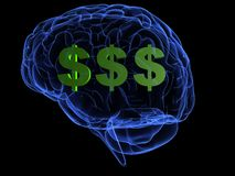 Money brain. 3d rendered anatomy illustration of a human brain with dollar signs Stock Photography