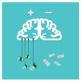 Money brain business dollar positive thinking, Clear thin Stock Photography