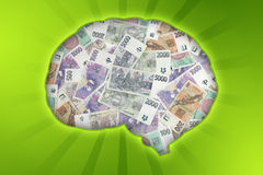 Money brain Stock Image