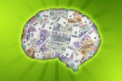 Money brain Stock Image
