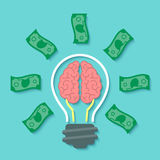 Money and Brain Idea Concept. Modern flat business vector concept of money idea with light bulb, brain and dollar bills in the form of rays. Financial Royalty Free Stock Photo