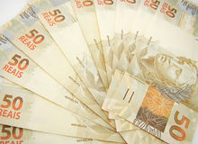Money from Brazil. New currency design stock photography
