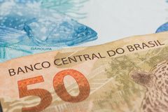 Notes of Real, Brazilian currency. Money from Brazil. Written Ba stock photography