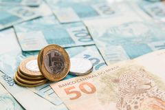 Notes of Real, Brazilian currency. Money from Brazil. Money from Brazil. Notes of Real, Brazilian currency. Concept of savings, salary, payment and funds. Full Royalty Free Stock Photography
