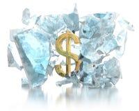Money breaks the ice concept Stock Image