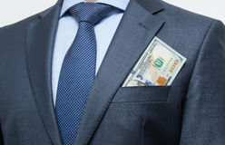 Money in the breast pocket Stock Image