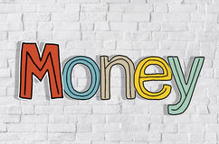 Money and Brick Wall in the Background Royalty Free Stock Images