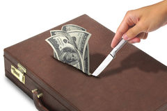 Money in briefcase Royalty Free Stock Images