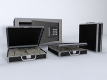 Money Briefcase and Small Vault Stock Images