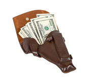 Money in the brown leather holster Stock Images