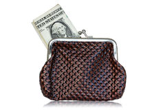 Brown leather purse with dollars Stock Photos