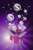 Money bubble flying from gift box Stock Image