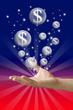 Money bubble flying from hand withcolor background Stock Photos