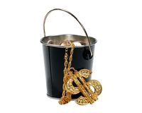 Money Bucket Royalty Free Stock Photography