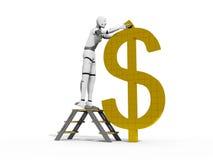 Money builder. Crash test dummie building a money simbol over a white background Stock Illustration