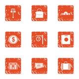 Money building icons set, grunge style. Money building icons set. Grunge set of 9 money building vector icons for web isolated on white background Stock Photo