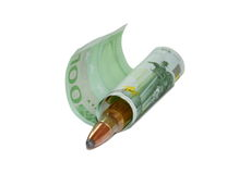 Money and a bullet. Money and a bullet isolated on white Stock Photos