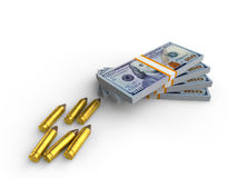 Money and Bullets Stock Image
