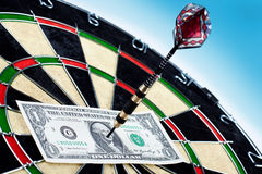 Money and bullseye Royalty Free Stock Images
