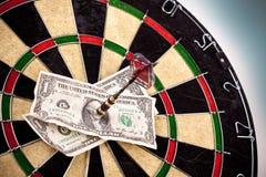 Money and bullseye Stock Photography