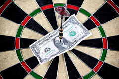 Money and bullseye Stock Photo