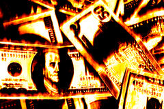 Money Burning. Burning cash and American money abstract illustration Stock Photos