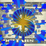 Money Burst. A colorful burst is the background for a puzzle of US currency and a colorful dollar sign royalty free illustration