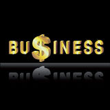 Money in business. Wiht golden dollar Stock Photo