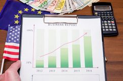 Money with business growth. On desk Stock Image