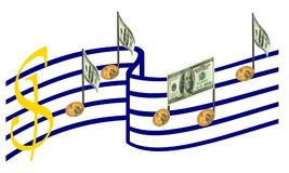 Money, Business Harmony, Music Success. Isolated. Stock Photos