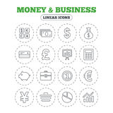 Money and business icon. Cash and cashless money. Money and business icons. Cash and cashless money. Usd, eur, gbp and jpy currency exchange. Presentation Royalty Free Stock Photo