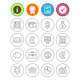 Money and business icon. Cash and cashless money. Report, information and award signs. Money and business icons. Cash and cashless money. Usd, eur, gbp and jpy Stock Image