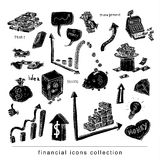 Money and business icons set, hand drawn.black, Royalty Free Stock Photo