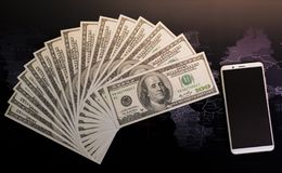 Money is a business investment and global stock market. royalty free stock photos