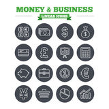 Money and business linear icons set. Thin outline. Money and business linear icons set. Cash and cashless money. Usd, eur, gbp and jpy currency exchange Royalty Free Stock Images