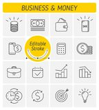 The money and business outline vector icon set vector illustration