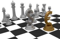 Money Business and Strategy. Dollar and Euro sign on the chess board game in part of finance strategy stock illustration