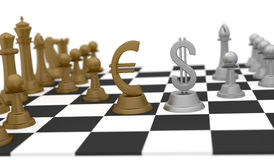 Money Business and Strategy. Dollar and Euro sign on the chess board game in part of finance strategy vector illustration