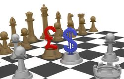 Money Business and Strategy. Dollar and Pound sterling sign on the chess board game in part of finance strategy royalty free illustration