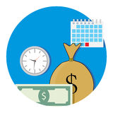 Money and business time icon flat. Salary concept fund, vector illustration Royalty Free Stock Images