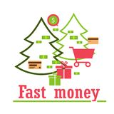 Money for business, travel, payments, purchases. Modern way of l Royalty Free Stock Images