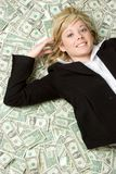 Money Business Woman. Beautiful smiling money business woman stock image