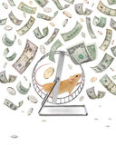 Money Business Wheel Creation Waste Time Economy. A mouse on an exercise wheel with money raining down Royalty Free Stock Photography