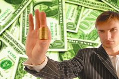 Money and  businessman Royalty Free Stock Photo