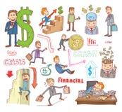 Money and Businessman icons set, hand drawn. Stock Photo