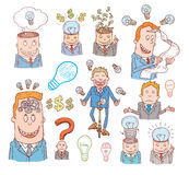 Money and Businessman icons set, hand drawn. Stock Photography