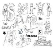 Money and Businessman icons set, hand drawn. Stock Photos